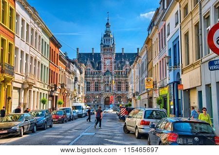 ANTWERP, BELGIUM - JUN 2013: Street with guild houses on June 7,
