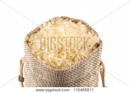 Long Grain Rice On White Background