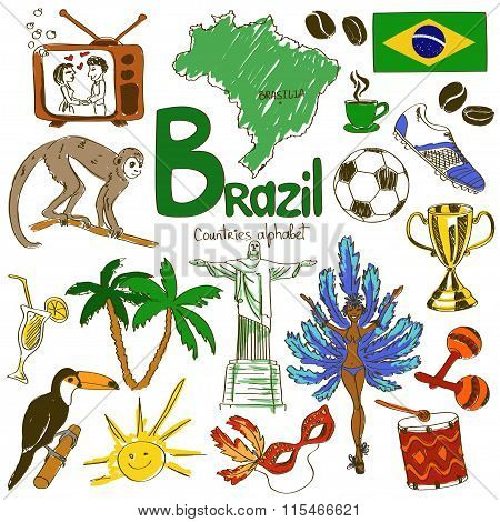 Collection Of Brazil Icons.