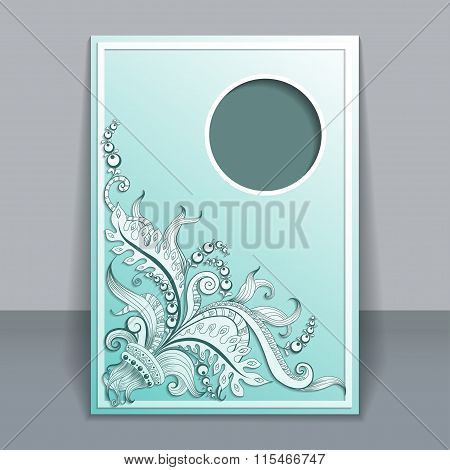 Vector card with hand-drawing ornaments
