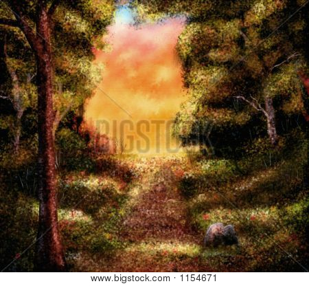 Autumn Forest Scenery Painting