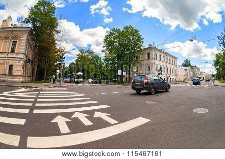 Zebra Crossing With White Marking Lines And Direction Of Motion On Asphalt At The City Street In Pus