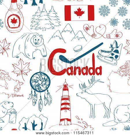 Sketch Canada Seamless Pattern.