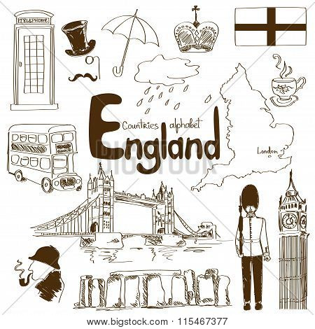 Collection Of England Icons.