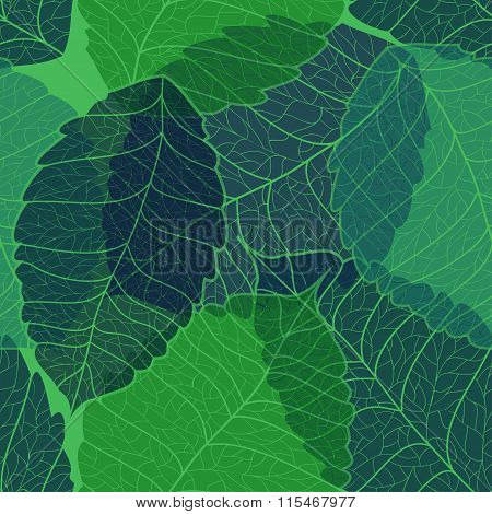 Seamless Pattern Of Leaves.