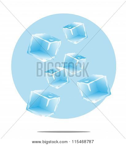 Illustration Of Falling Ice Cubes With Light Blue Background