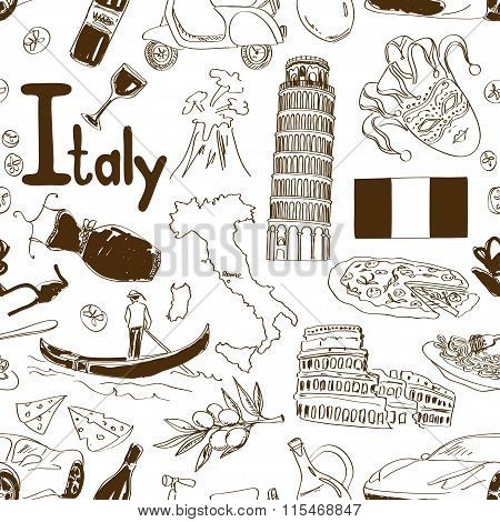 Sketch Italy Seamless Pattern.