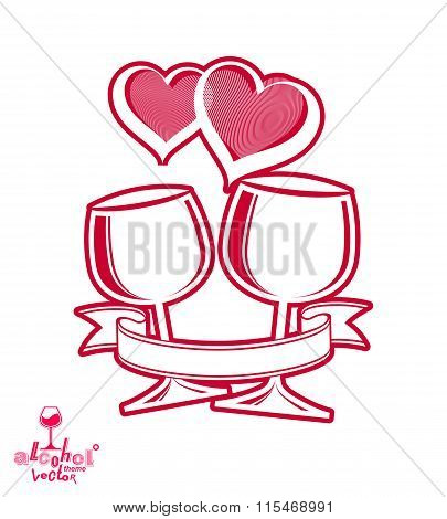 Artistic Illustration Of Wineglasses With Two Elegant Loving Hearts And Festive Ribbon. Valentine