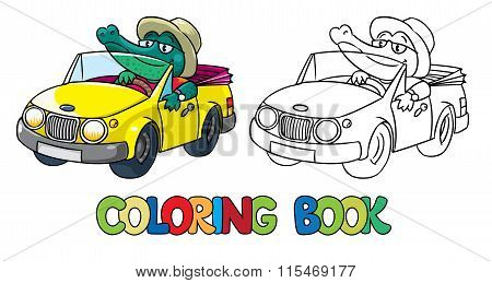 Crocodile-driver. Coloring book