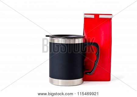 Insulated Cup With Red Paper Bag