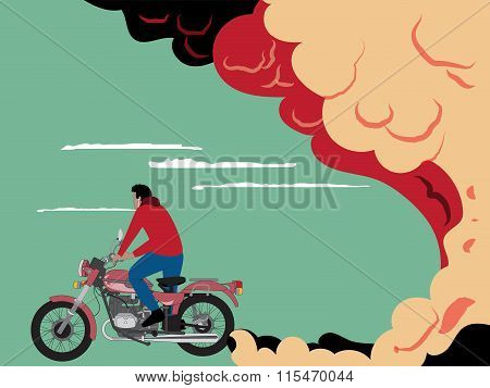 A Motorcyclist Rides/exhaust