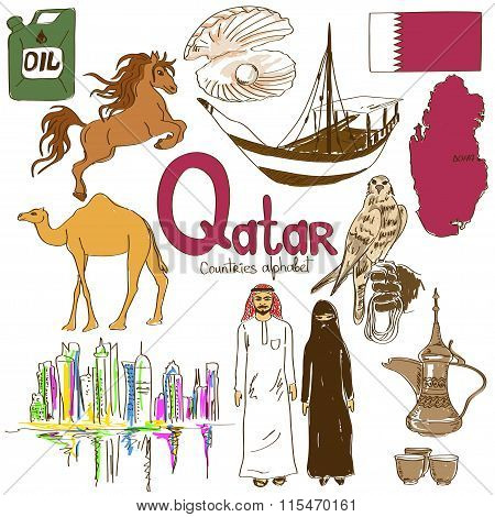 Collection Of Qatar Icons.