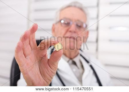 Doctor Showing Square Tablet