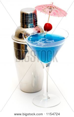 Cocktail With Blue Curacao & Shaker Isolated On White Background
