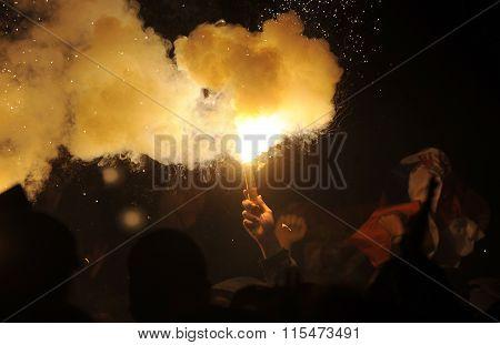 Burning flare