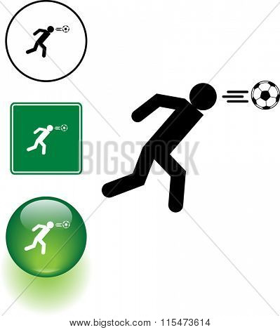 soccer player head shot symbol sign and button