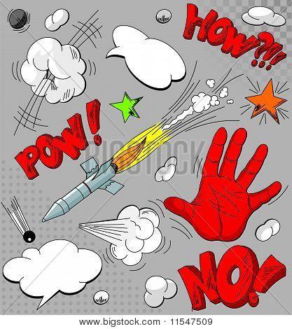Conjunto de explosões de quadrinhos