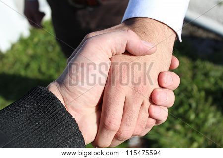 Bussines hand shaking will show succesful cooperation