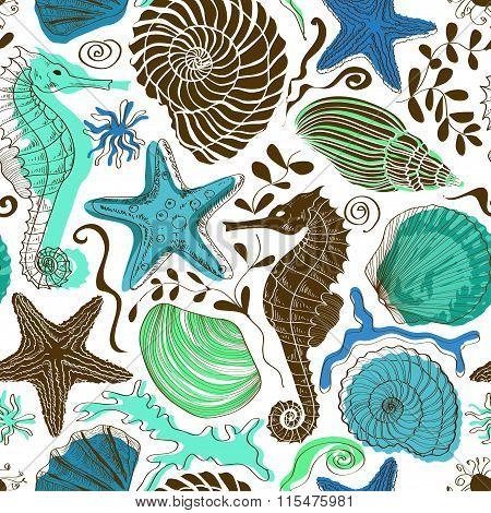 Seamless Pattern Of Sea Animals.