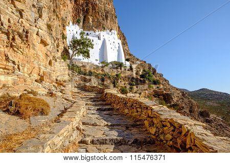 Scenic View Of Panagia Hozovitissa Monastery On Amorgos Island