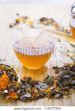 Hot cup of herbal calendula tea