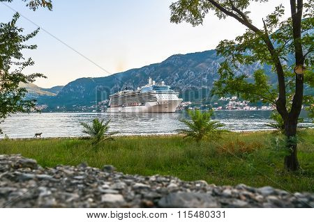 Large cruise ship at anchor in the Bay of Kotor