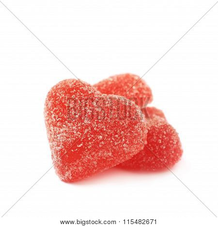 Red heart shaped candy isolated