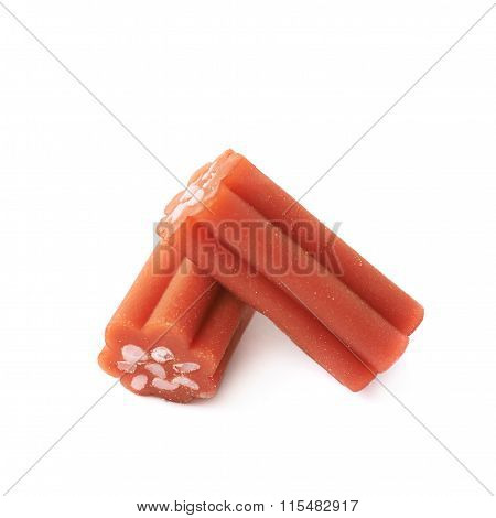 Red licorice stick candy isolated