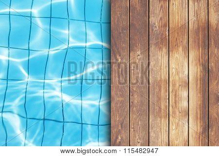 Wooden Deck On Swimmung Pool Background