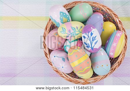 Basket Of Dcorated Easter Eggs