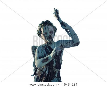 statue with wings and torch isolated on white background