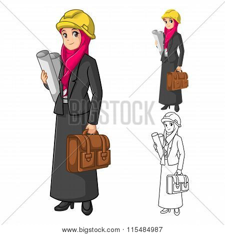 Muslim Businesswoman Architect Wearing Pink Veil or Scarf with Holding Briefcase