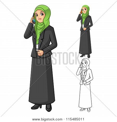 Muslim Businesswoman Wearing Green Veil or Scarf with Holding Smart Phone