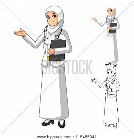 Muslim Woman Doctor Wearing White Veil or Scarf with Welcoming Hands