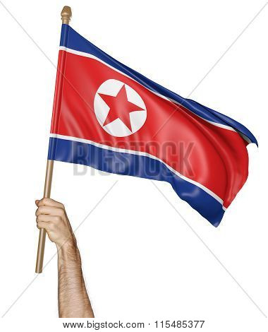 Hand proudly waving the national flag of North Korea