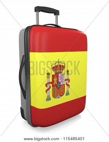 Spain vacation destination concept of a flag painted travel suitcase