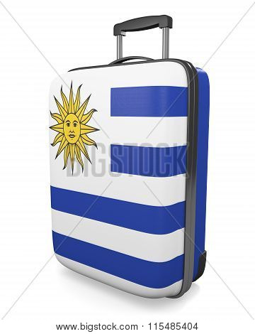 Uruguay vacation destination concept of a flag painted travel suitcase