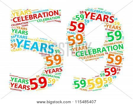 Colorful word cloud for celebrating a 59 year birthday or anniversary