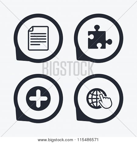 Plus circle and puzzle signs. File, globe.
