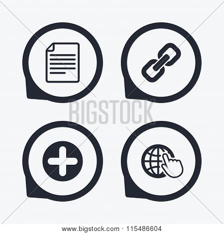 Plus circle and hyperlink signs. File, globe.