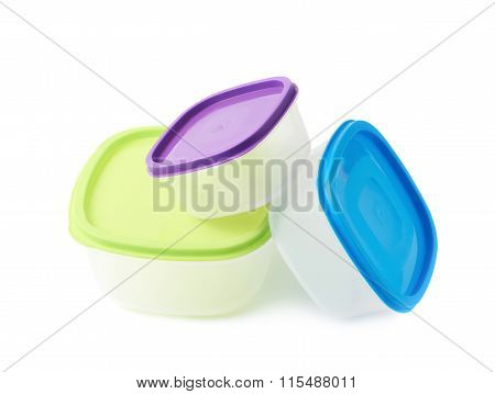 Pile of food containers isolated