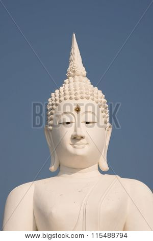 White Buddha Large Statue Showing Signs Of Air Pollution Asia