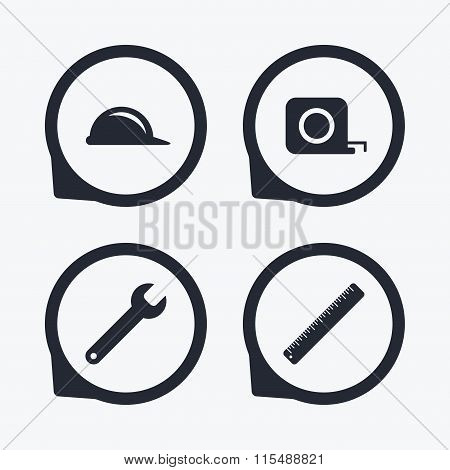 Construction helmet and ruler, roulette icons.