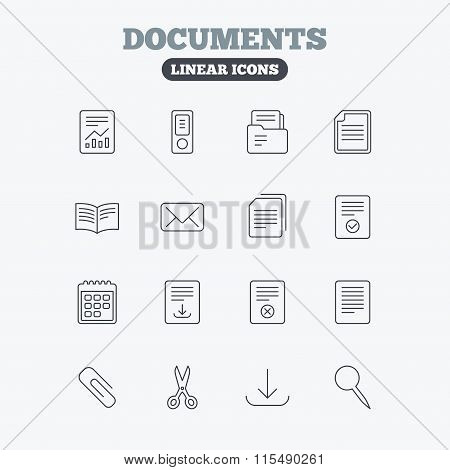 Documents linear icons. Accounting, book.