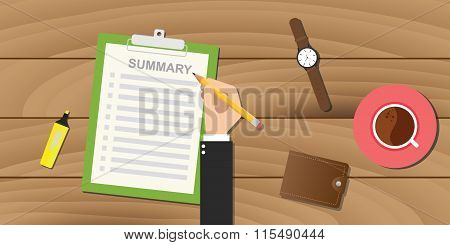 summary report business clipboard executive hand