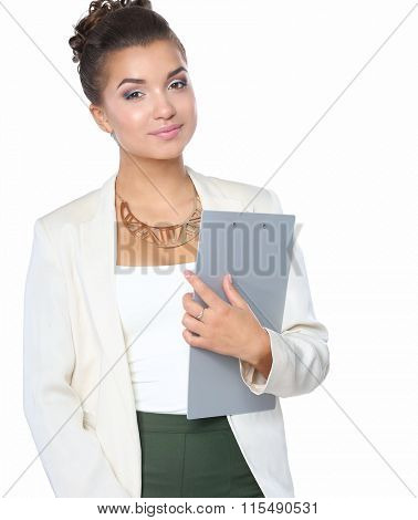 Portrait of  young business woman standing on white background