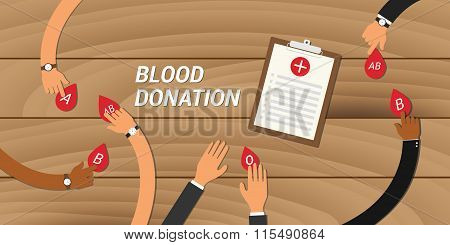 blood donation concept people give their to other
