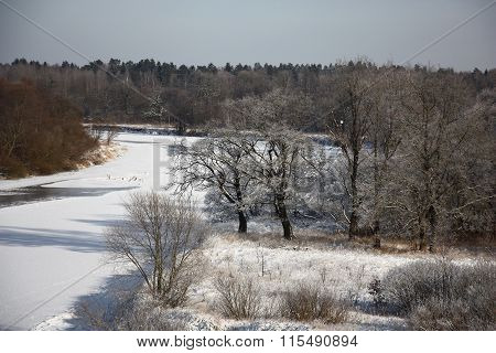 The winter river from height.