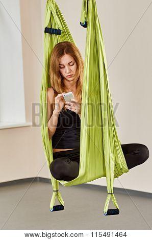 woman anti-gravity aerial yoga in break