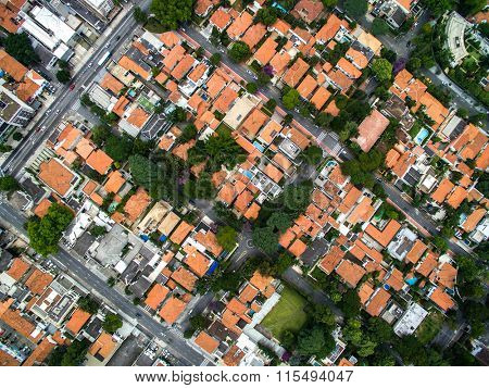 Top view of some houses in Sao Paulo, Brazil